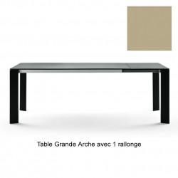 Table Grande Arche avec 1 rallonge, Fast or perlé Longueur 160/210 cm
