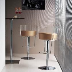 Tabouret design Bongo dossier transparent, Midj, hauteur d'assise réglable, assise similicuir beige