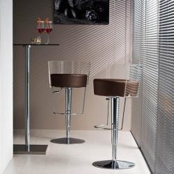 Tabouret design Bongo dossier transparent, Midj, hauteur d'assise réglable, assise similicuir marron