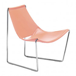 Chaise lounge Apelle AT, cuir rose poudré