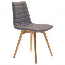 Chaise design Cover, Midj gris clair pieds bois