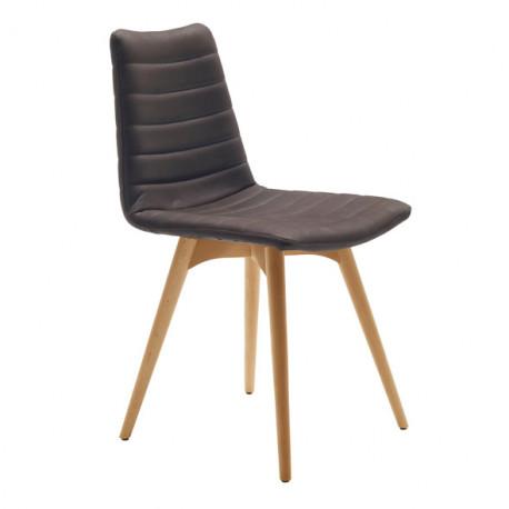 Chaise design Cover, Midj gris foncé pieds bois