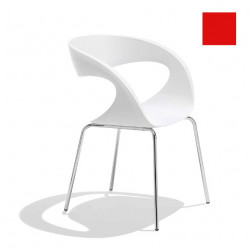Chaise design Raff pieds simples, Midj rouge