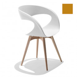 Chaise design Raff pieds bois, Midj ocre
