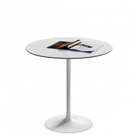Table ronde Infinity, Midj plateau blanc, pied blanc Diamètre 60 cm