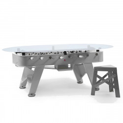 Table à manger baby foot ovale, RS Barcelona argent Hauteur 100 cm