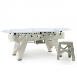 Table à manger baby foot ovale, RS Barcelona blanc Hauteur 100 cm