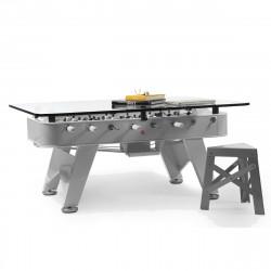 Table à manger baby foot rectangulaire, RS Barcelona inox Hauteur 76 cm