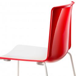 Chaise Tweet 897, Pedrali rouge, blanc Pieds chromés