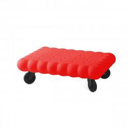 Table basse biscuit Tea Time, Slide Design rouge Mat