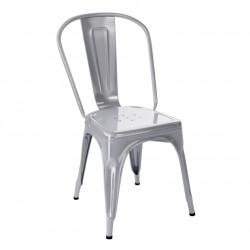 Chaise A Inox Brillant, Tolix gris perle