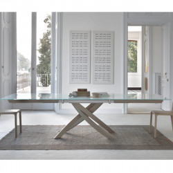 Table Sculptura en verre Extrawhite brillant 200x106 cm