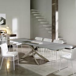 Table Sculptura en verre Gris tourterelle opaque 250x106 cm