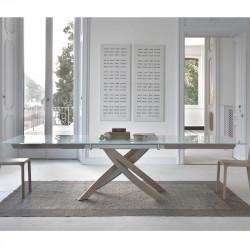 Table Sculptura en verre Extrawhite brillant 190/240/290x90 cm