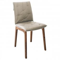 Chaise Prima pieds en bois avec coussin sable