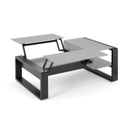 Kama Table modulable duo Aluminium Givré, Ego Paris Pierre givrée-Noir mat