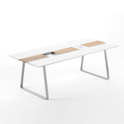 Table Extrados 240 Céramique blanc et Teck 242x110 cm