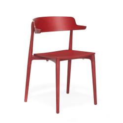 Lot de 2 Chaises bois design Nemea 2825, Pedrali, frêne teinté rouge