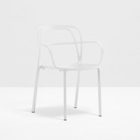 Lots de 2 Chaises aluminium avec accoudoirs Intrigo 3715, Pedrali, blanc