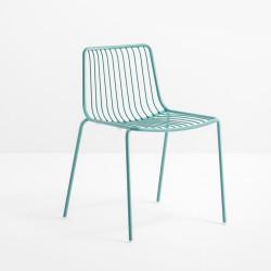 Lot de 2 chaises design filaires Nolita 3650, Pedrali, bleu azur