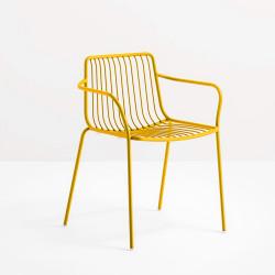 Lot de 2 chaises filaires avec accoudoirs, Nolita 3655, Pedrali, jaune