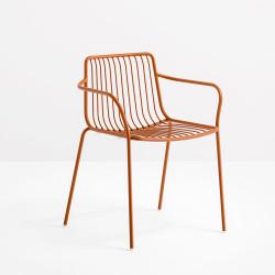 Lot de 2 chaises filaires avec accoudoirs, Nolita 3655, Pedrali, terracotta