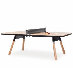 Table de réunion ping pong You & Me 220, RS Barcelona, plateau chêne, structure noire