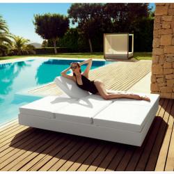 Bain de soleil 2 places design Vela Daybed avec 2 dossiers inclinables, Vondom Blanc Silvertex