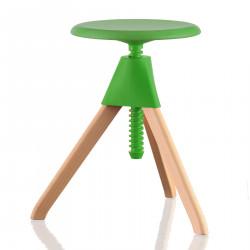 Tabouret Jerry, Magis bois naturel - assise, joint et vis vert Petit modèle