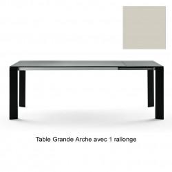 Table Grande Arche avec 1 rallonge, Fast gris poudré, Longueur 160/210 cm