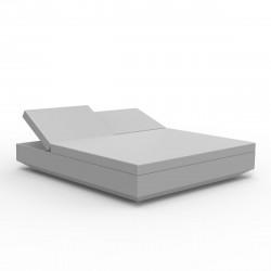 Bain de soleil 2 places design Vela Daybed avec 2 dossiers inclinables, Vondom Gris Argent Silvertex