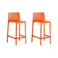 Lot de 2 Tabourets de bar Volt 677, Pedrali orange, hauteur d'assise 66 cm