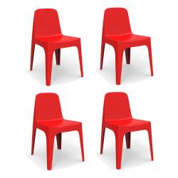 Lot de 4 Chaises Solid, Vondom rouge