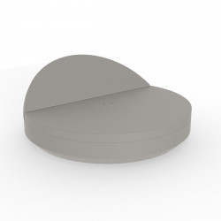 Bain de soleil rond design, Vela Daybed, dossier inclinable, coussin Silvertex taupe, Vondom