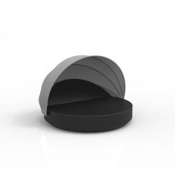 Lit de soleil rond design Vela Daybed, avec parasol, dossier inclinable, coussin Silvertex noir, Vondom