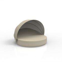 Lit de soleil rond design Vela Daybed, avec parasol, dossier inclinable, coussin Silvertex écru, Vondom