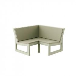 Module d'angle 90° pour canapé angle exterieur Frame, Vondom écru avec coussins en tissu Silvertex