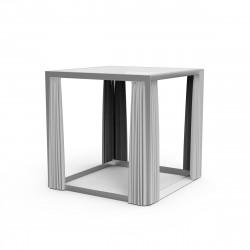 Pergola pour bain de soleil 2 places Vela avec rideaux gris argent, Vondom, 204x204x204cm