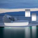 Lit de soleil rond design Vela Daybed, avec parasol, dossier inclinable, Vondom Lumineux Led Blanc