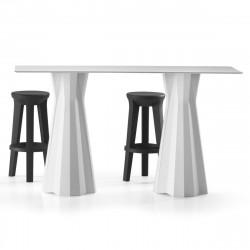 Table haute Frozen, plateau HPL blanc 120x60cm, Plust