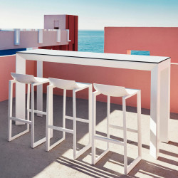 Table haute Frame Aluminium, Vondom, blanc laqué, plateau HPL blanc, tranche noire, 200x60x105 cm