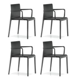 Lot de 4 Chaises avec accoudoirs Volt 675, Pedrali, noir