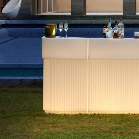 Bar Cordiale Corner lumineux, module d'angle, coloris vanille, Slide Design, L70 x P70 x H110 cm