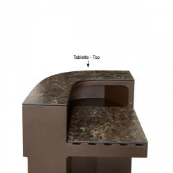 Tablette Cordiale Corner Top, HPL effet Veneto Impérial, pour module d\'angle de bar Cordiale, Slide Design