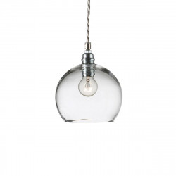Suspension Rowan transparent, diamètre 15,5 cm, Ebb & Flow, douille et câble argents