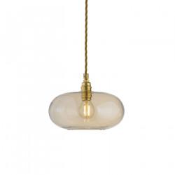 Petite suspension verre soufflé Horizon, Doré fumé, diamètre 21 cm, Ebb & Flow, douille et câble dorés