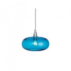 Petite suspension verre soufflé Horizon Bleu Piscine, diamètre 21 cm, Ebb & Flow, douille et câble argentés