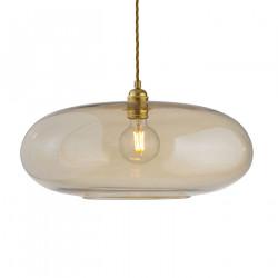 Luminaire verre soufflé Horizon Doré fumé, diamètre 45 cm, Ebb & Flow, douille et câble dorés