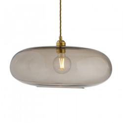 Luminaire verre soufflé Horizon Marron glacé, diamètre 45 cm, Ebb & Flow, douille et câble dorés