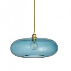 Luminaire verre soufflé Horizon Bleu Océan déchainé, diamètre 45 cm, Ebb & Flow, douille et câble dorés